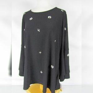 Alfani Size 2X Black Bell Sleeve Embellished Tunic